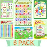 Alphabet Chart Posters for Preschoolers, Number Chart 1-100 for Kids, 6 Pack Educational Posters for Toddlers, Preschool Lear