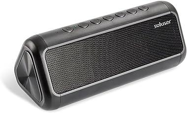 Bluetooth4.2 スピーカー Soluser 12Wスピーカードライブ ソーラーパネル付き 5000mAh大容量バッテリー内蔵 20時間連続再生 アウトドア 防水ブルートゥーススピーカー 重低音 高音質speaker 臨場感満点 ハンズフリー通話 (ブラック)