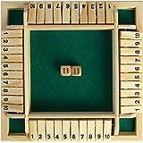 シャット・ザ・ボックス ボードゲーム ダイス ゲーム 4人プレイ 木製 おもちゃ パーティゲーム パブゲーム (グリーン)