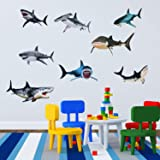 8 Pieces of Sharks Peel and Stick Wall Decals Sharks Removable Wall Stickers Animal Shark Sea Creature Decal Sticker for Room