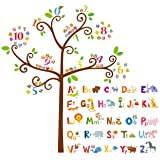 DECOWALL DA-1503 Animal Alphabet ABC and Owl Numbers Tree Kids Wall Stickers Wall Decals Peel and Stick Removable Wall Sticke