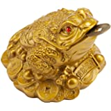Wschic Feng Shui Money Frog, Lucky Chinese Toad with Coin,Ideal for Office and Home Decoration