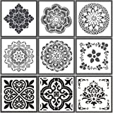 Reusable Stencils for Painting,Laser Cut Painting Templates 9 Styles (66 inch) Floor Wall Tile Fabric Wood Stencils (White)