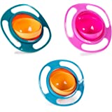 Berry President(TM) Set of 3: Magic Bowl 360 Degree Rotation Spill Resistant Gyro Bowl with Lid for Toddler Baby Kids Childre