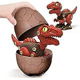 Take Apart Dinosaur Toys with Dinosaur Eggs DIY STEM Building Toys Set for Kids 3-7, Red Velociraptor