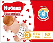 Huggies Essentials Nappies, Size 3 Crawler (6-11kg), 52 Count