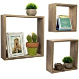 Floating Rustic Wall Shelves: Set of 3 Nested Barnwood Cube Shelves. Wall-Mounted Storage Bookshelf is perfect for home dcor