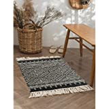 Seavish Cotton Printed Rug, 2'W x 3'L Decorative Black and White Diamond Symmetry Kilim mall Area Rug Hand Woven Rug for Entr