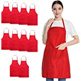 Hi loyaya Total 10 Pack Bulk Bib Aprons for Women Girl Adult, Painting BBQ Cooking Kitchen Apron with Pockets, 100% Polyester