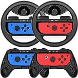 Joy-Conハンドル マリオカート8 デラックス Switch ジョイコンコントローラー グリップ(黒 /4点セット) momen®