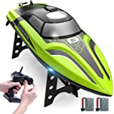 DEERC RC Boat Remote Control Boat for Poolsand Lakes,20+ mph Self Righting Racing Boats with Rechargeable Battery for Kids a