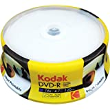 Kodak DVD-R Kodak DVD-R 4.7GB 16x Inkjet Printable Spindle 25 Pack, (580123)