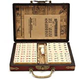 Travel Mahjong, Portable Portable Mahjong, Leather Case Vintage Chinese Mahjong Ancient Mahjong Set with Instructions