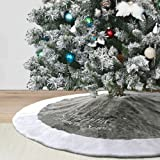 """Dremisland 36"""" Luxury Faux Fur Christmas Tree Skirt with Snowflake Double Layers Soft Tree Skirt Xmas Holiday Party Decoratio"""
