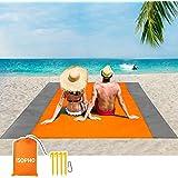 ISOPHO Beach Blanket Beach Mat Sand Free Waterproof Extra Large Lightweight Beach mat Outdoor Oversized Packable 6.9 ft×6.5 f