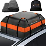 FIVKLEMNZ Car Roof Bag Cargo Carrier, 15 Cubic Feet 100% Waterproof Rooftop Cargo Carrier with Anti-Slip Mat + 8 Reinforced S