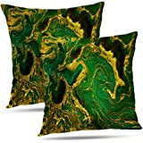 Lshtar Set of 2 Throw Pillow Covers, Marble Abstract Green Golden Waves Green Marble Gold Emerald Abstract for Sofa Cushion C