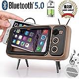 Bluetoothスピーカー レトロなテレビ型のサブウーファーのBluetoothスピーカー携帯電話スタンド機能付き、防災グッズ 旅行/地震/アウトドア活動などの必携品 4.7〜5.5インチの画面 iPhone 6, 6s, 7, 8/Android対応 (コーヒー色)