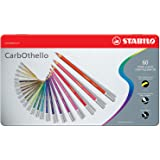 Premium Colouring Pencil - STABILO CarbOthello Pastel Pencil Metal box of 60 assorted colours, plus sharpener, kneaded eraser