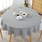 HINMAY Table Cloth, Round Stripe Cotton Line Table Cover Nordic Twill Floral Tablecloth Washable Dining Decorative for Holida