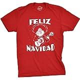 Crazy Dog T-Shirts Mens Feliz Navidad Tshirt Funny Guitar Mexican Santa Claus Christmas Tee