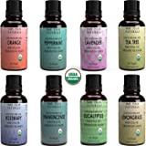 Mary Tylor Naturals Organic Essential Oils Set, Top 8 X 10 Ml Each, Usda Certified Lavender Peppermint Orange Lemongrass Rose