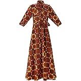 MCYSKK Women African Batik Print Button-Down Maxi Dress Long Dresses with Belt