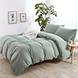 mixinni Luxury Solid Color 3 Pieces King Size Duvet Cover Sets Green 100% Natural Washed Cotton 1 Duvet Cover 2 Pillowcases H