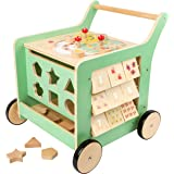 Small Foot Wooden Toys Premium Pastel Wooden Baby Walker and playcenter Move it! Designed for Toddlers 12+ Months, Multi (109