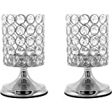 Vincidern Crystal Cylinder Hurricane Candle Holders, Candlelight Dinner Candlestick Holder Silver Centerpieces for Table, Hom