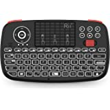 Rii (2019 Upgrade i4 Mini Bluetooth Keyboard with Touchpad, Blacklit Portable Wireless Keyboard with 2.4G USB Dongle for Smar