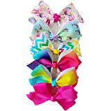 INS Girls JOJO Siwa Large Hair Bows With Clips,5Inch Grosgrain Bowknot Hairpins 6pcs/set/card JH08 (SET 1)