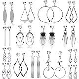 15 Pairs Wholesale Clip on Earrings for Women Fashion-Celtic Knot Earrings,Long Bar Earrings,Tear Drop Earrings Clip on Hoop