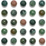 NCB 200pcs 6mm Indian Agate Loose Beads for Jewelry Making, Natural Semi Precious Beads Round Smooth Gemstones Spacer Beads C