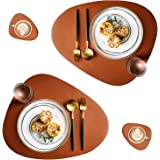 QPIX DIGITAL Leather Placemats and Coasters Set of 4 Round Leather for Dinner Table Mats Heat-Resistant Non-Slip Washable Ins