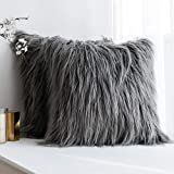 (Fur Grey) - Pack of 2,Miulee Decorative New Luxury Series Merino Style Grey Fur Throw Pillow Case Cushion Cover for Sofa Bed