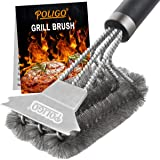 POLIGO Grill Brush and Scraper with Deluxe Handle - Safe Wire Stainless Steel BBQ Brush for Gas Infrared Charcoal Porcelain G
