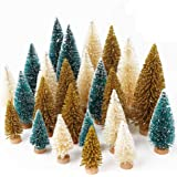 OurWarm 24pcs Artificial Sisal Christmas Tree Mini Pine Tree with Wood Base DIY Crafts Home Table Top Decor Christmas Ornamen