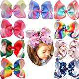 10Pcs Rainbow Hair Bows for Girls 6'' Large Big Grosgrain Ribbon Bows Alligator Hair Clips Unicorn Bows For Toddlers Baby Gir