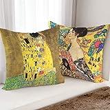 SANGSANGHOO Pillow Cover Klimt The Kiss 18x18 Art Cushion Bedroom Square Decorative Cover