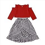 Toddler Kids Baby Girl Clothes Long Sleeve Shirt+Ruffle Plaid Skirt 2PCS Dress Outfits