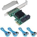 Ziyituod SATA3.0 増設ボード NON-RAID 4ポート拡張カード 6Gbps 超高速 PCI Expr…
