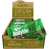 BodyMe Organic Vegan Protein Bar | Raw Cacao Mint | 12 x 60g Vegan Protein Snack Bars | Gluten Free | 16g Complete Protein |