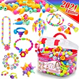 FUNZBO Snap Pop Beads for Girls Toys - Kids Jewelry Making Kit Pop-Bead Art and Craft Kits DIY Bracelets Necklace Hairband an
