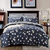 Satbuy Daisy Duvet Cover Set Twin Size 3 Piece Bedding Sets Collections Blue Lightweight Microfiber Comforter Cover Reversibl