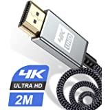 4K HDMI Cable 2M,Sweguard HDMI Cable 2.0a/b High Speed 18Gbps Braided HDMI Cord 4K@60Hz 2K@144Hz Supports 3D UHD 2160p HD 108