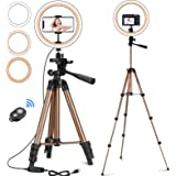 """CREUSA 10"""" Selfie Ring Light with Extendable Tripod Stand & Phone Holder Dimmable Desktop LED Ringlight with Remote Shutter f"""