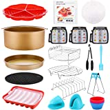 Air Fryer Accessories 18 PCS with Recipe Cookbook Liners for GoWISE Ninja COSORI Cozyna Philips 5.3, 5.5, 5.8, 6 Qt Dishwashe