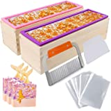 YGEOMER 2pcs 42oz Loaf Soap Mold, Rectangular Silicone Mold Set for Making Soap, with Wooden Boxes, 2 Cutters and 100pcs 4x6