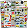 Crenstone Cars and Trucks Stickers Party Supplies Pack Toddler -- Over 160 Stickers (Cars, Fire Trucks, Construction, Buses a